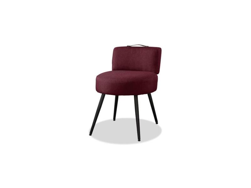 Lilo1 fauteuil pieds métal - tissu violet - l 44 x p 45 x h 63 cm