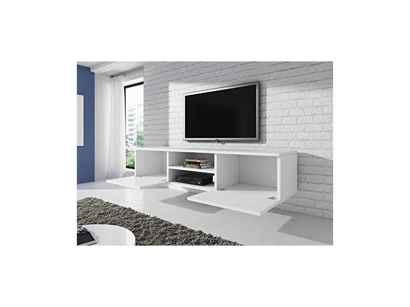 E-com Vegas Meuble TV Suspendu Blanc Mat 150 cm