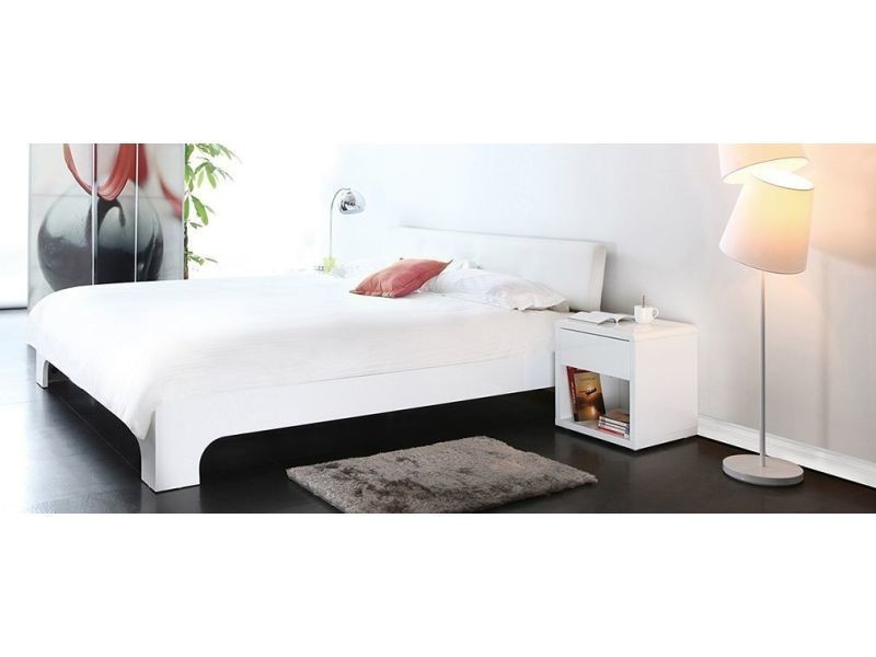 lit 140x190 design laqu blanc 2 places elio conforama. Black Bedroom Furniture Sets. Home Design Ideas