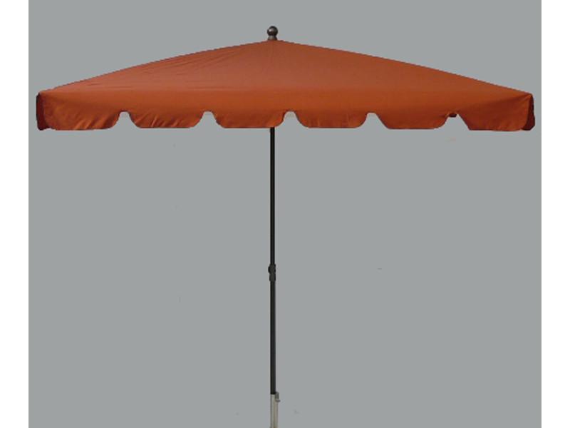 Parasol rectangulaire centré coloris terracotta - dim : h 250 x d 240 x 160/4 cm - pegane -