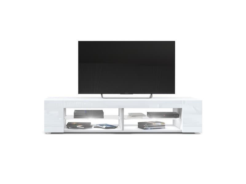 Meuble tv blanc mat façades en blanc laquées led blanc