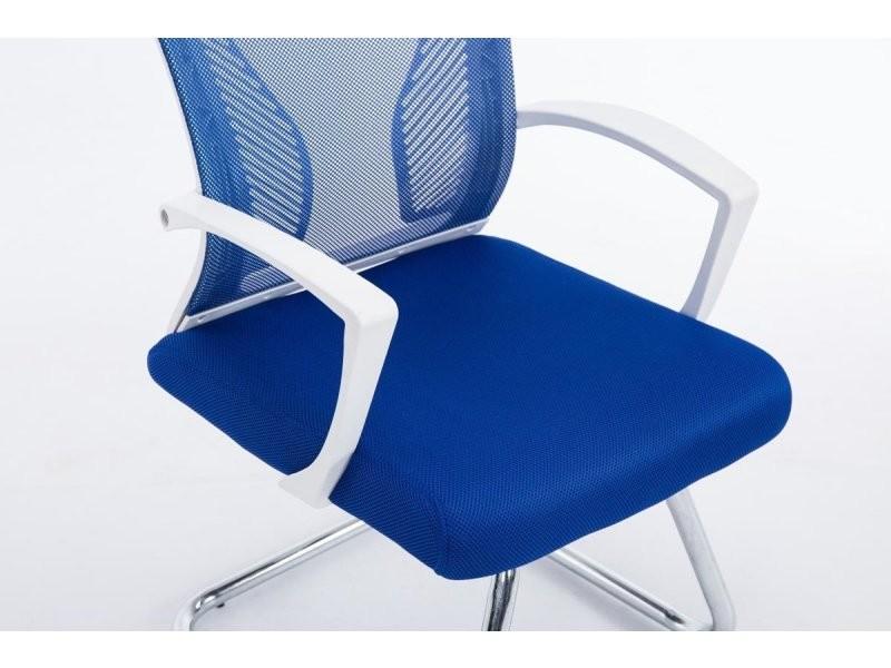 Chaise Fauteuil De Bureau Tissu Métal Bleu Chromé Roulette Sans Et CrsQxthd