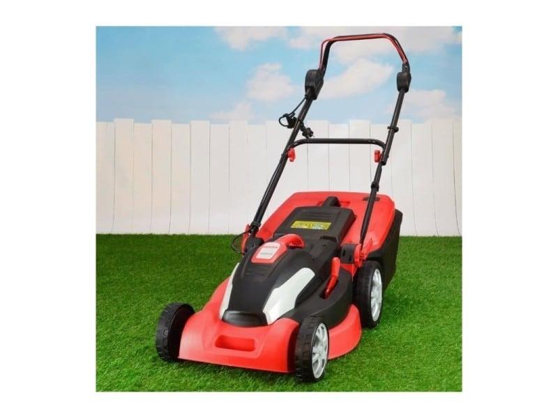 Hecht jardin 1844 tondeuse à gazon électrique 1800 w 3300 u/min moteur hauteur coupe : 25-85 cm bac 50 l largeur de coupe : 42 cm