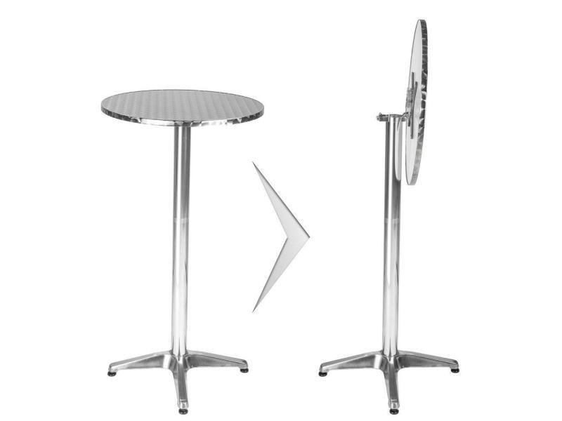 Mange debout aluminium diamètre table 60 cm diamètre pied 5,8 cm pliable hauteur réglable 74/114 cm gris helloshop26 2008193