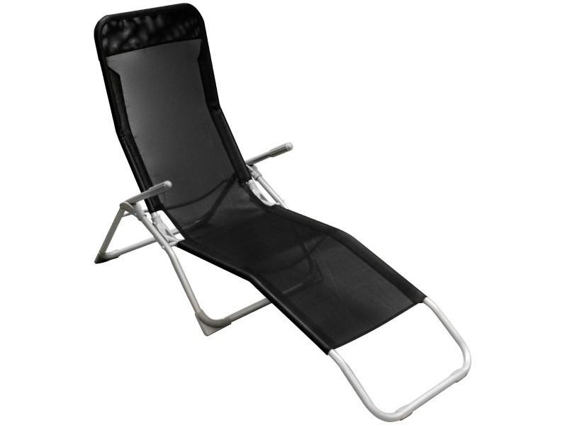 Bain de soleil chaise longue transat terrasse jardin sieste repos ibiza noir
