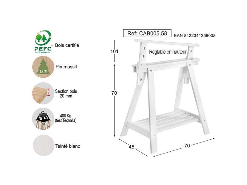 Astigarraga tréteau architecte en bois peint blanc vente de