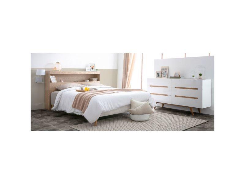 tête de lit avec rangements blanche 160 cm hypnos  vente