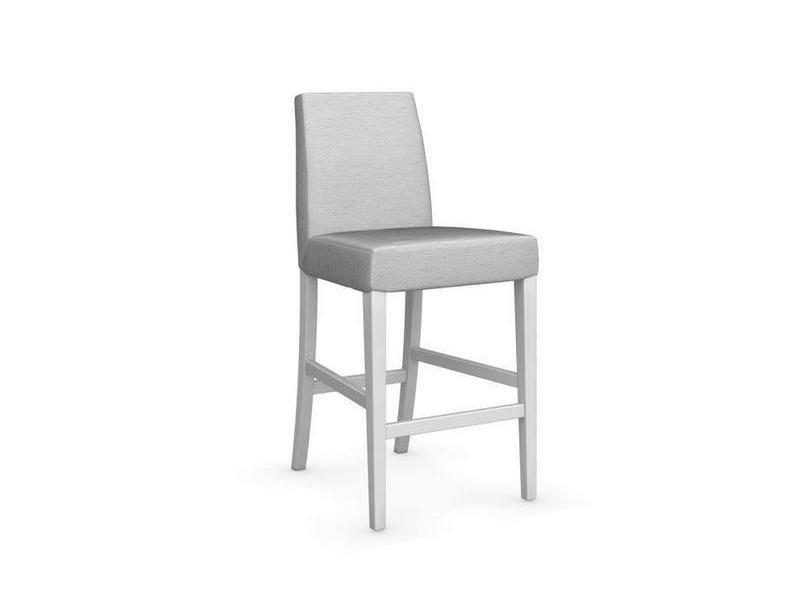 Chaise de bar latina piétement hêtre laqué blanc assise tissu sable 20100839339