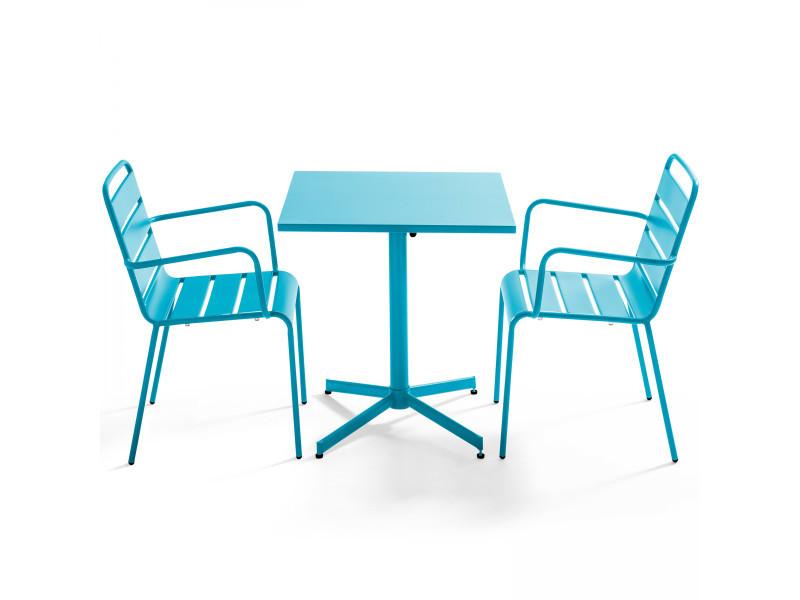 Table de jardin bistrot rabattable carrée en métal et 2 fauteuils palavas 2 places acier bleu