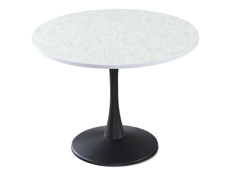Table ronde necy noir et effet marbre