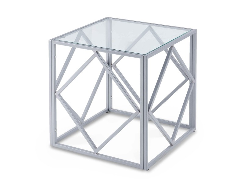 Clara - table basse carrée en verre et métal