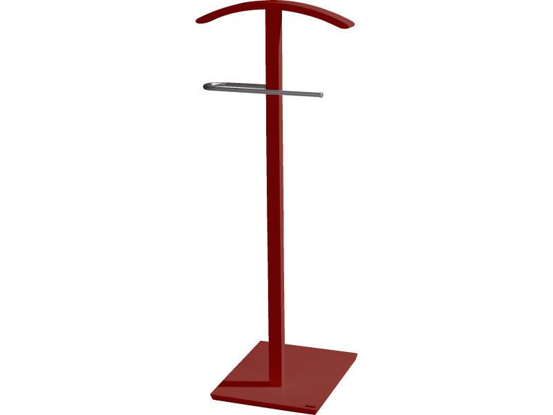 Valet de nuit simple rouge en bois/metal sur socle carré, 46 x 32 x ...