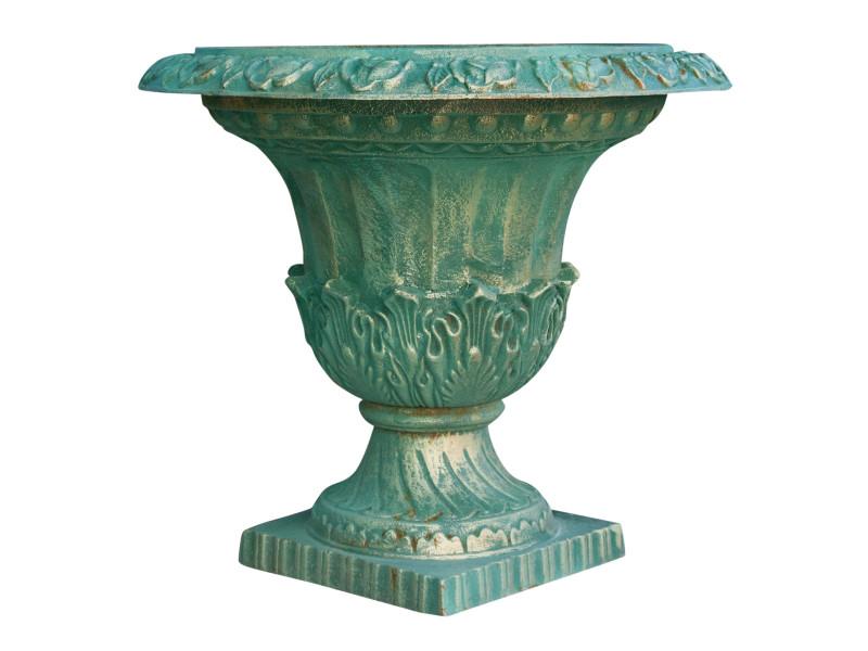 Vase avec poignées en fonte finition verde bronzée vieillie diam 70 xh65 cm