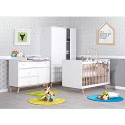 Chambre bébé évolutive avec commode à langer happy