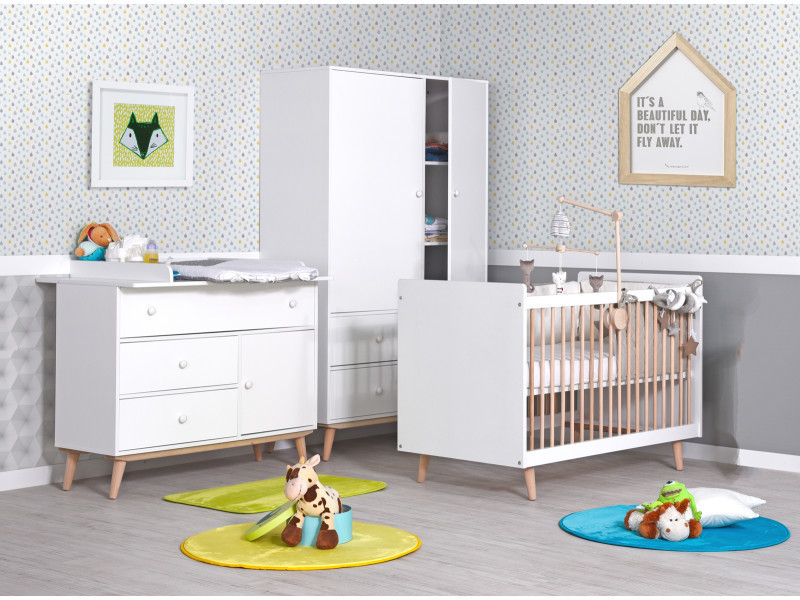 Chambre b b volutive avec commode langer happy lb60 a cl happy blanc conforama - Chambre enfant evolutive ...