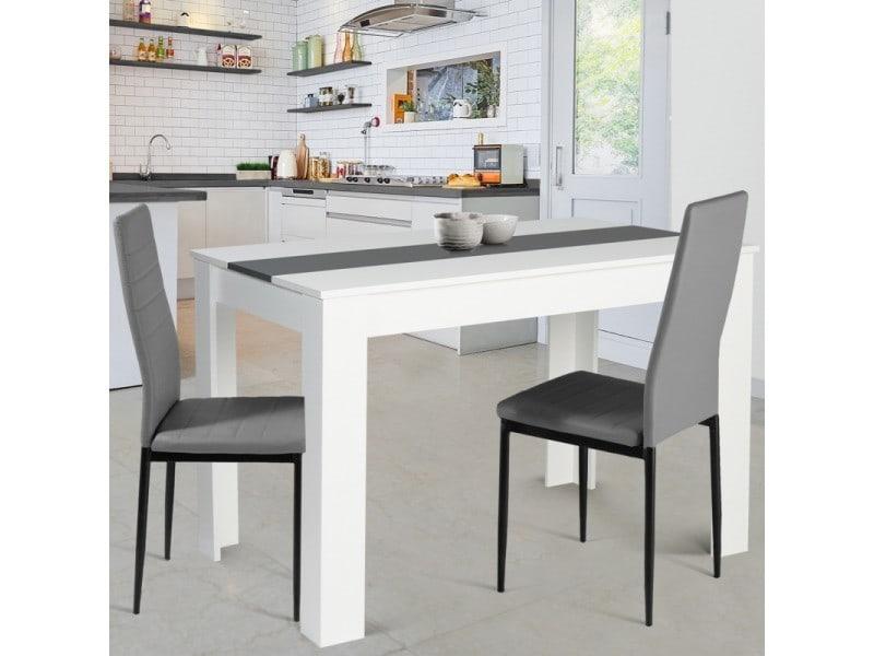 Table à manger rozy 4 personnes blanche et grise 110 cm
