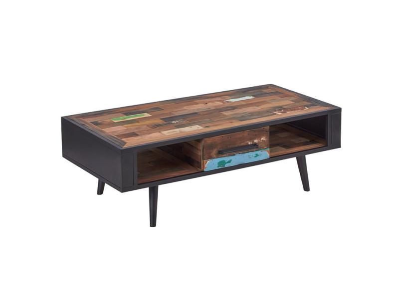 Table basse en bois 1 tiroir - manhattan - l 120 x l 60 x h 40 - neuf