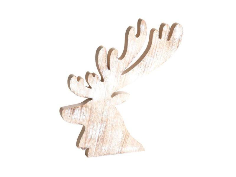 Tête de cerf en bois blanchi