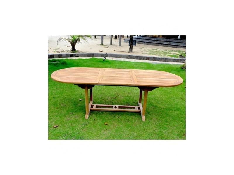 Magnifique salon de jardin teck massif 10/12 pers - table ovale + 10 ...