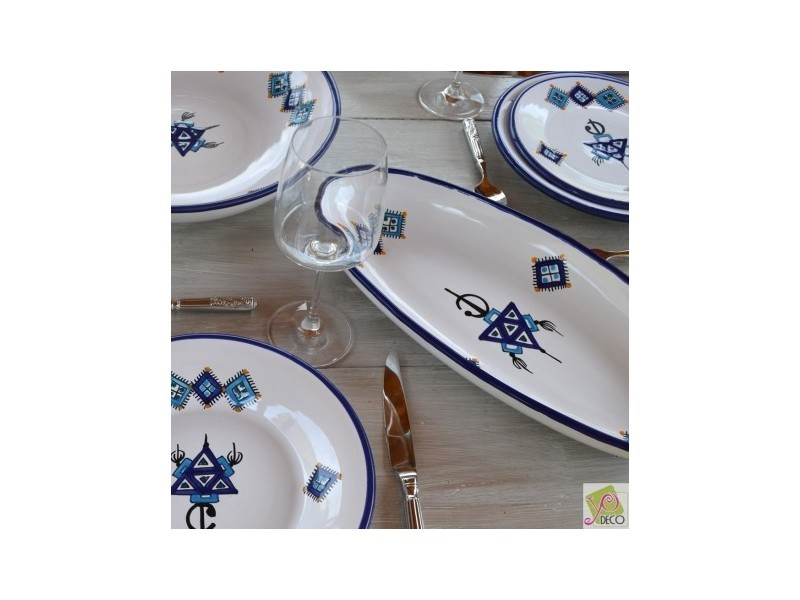 Plat ovale sahel bleu - l 53 cm