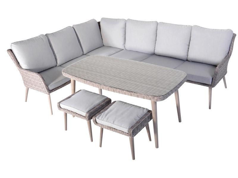 Salon de jardin de 5 pièces coloris gris / beige -pegane ...