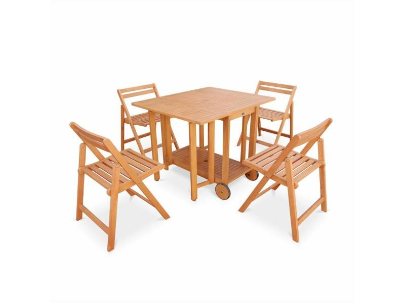 Salon de jardin en bois pliable merida, table rectangle pliable ...