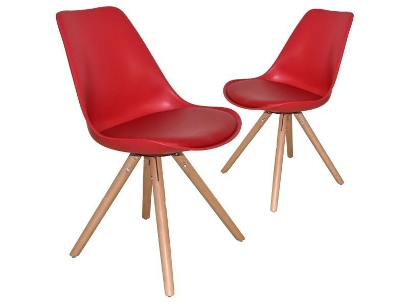 Lot De 2 Chaises Design Rouge Velta