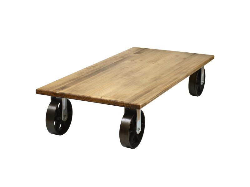 Table basse avec 4 roues en fonte industriel - 120 x 60 x 27 cm CAR 4R 6012027 33