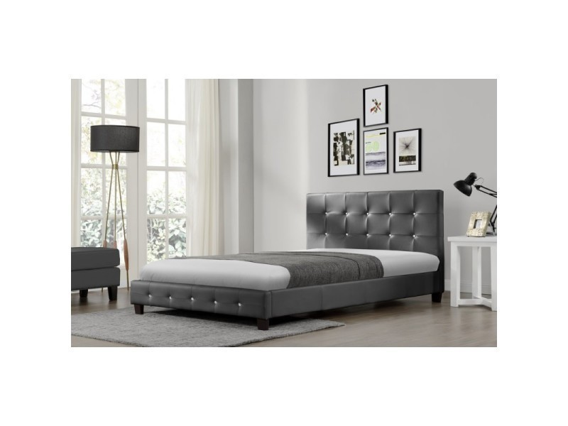 cadre de lit avec sommier lattes 140 x 190 cm en simili cuir capitonn gris glanum l 190 x l. Black Bedroom Furniture Sets. Home Design Ideas