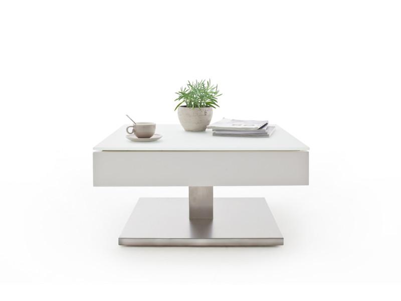 Table basse pivotant avec plateau en verre blanc mat - l75 x h38 x p75 cm -pegane-