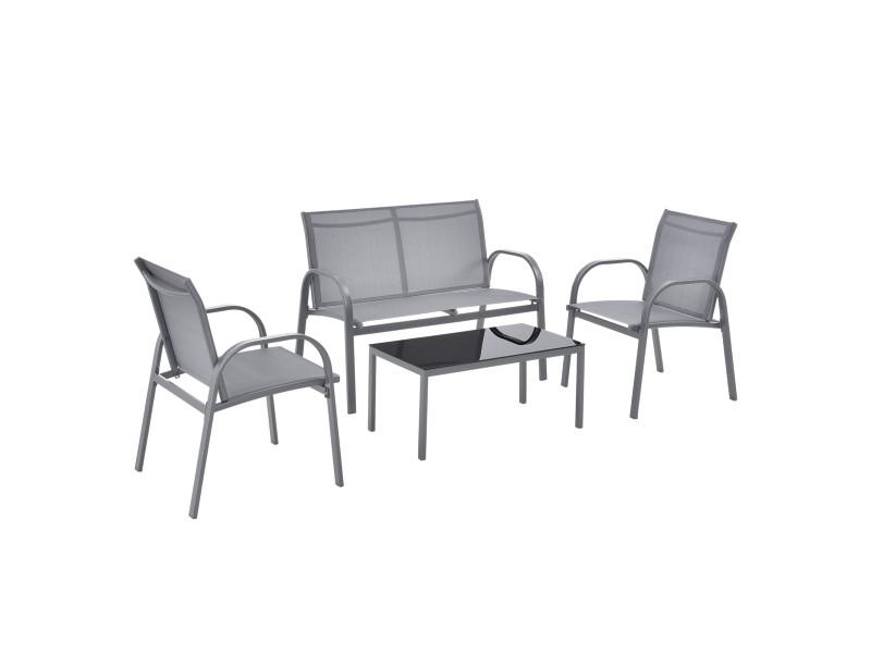 Salon de jardin design table basse plateau en verre canapé fauteuils set de 4 meubles extérieurs pour 4 personnes acier pvc polyester noir gris clair [en.casa]