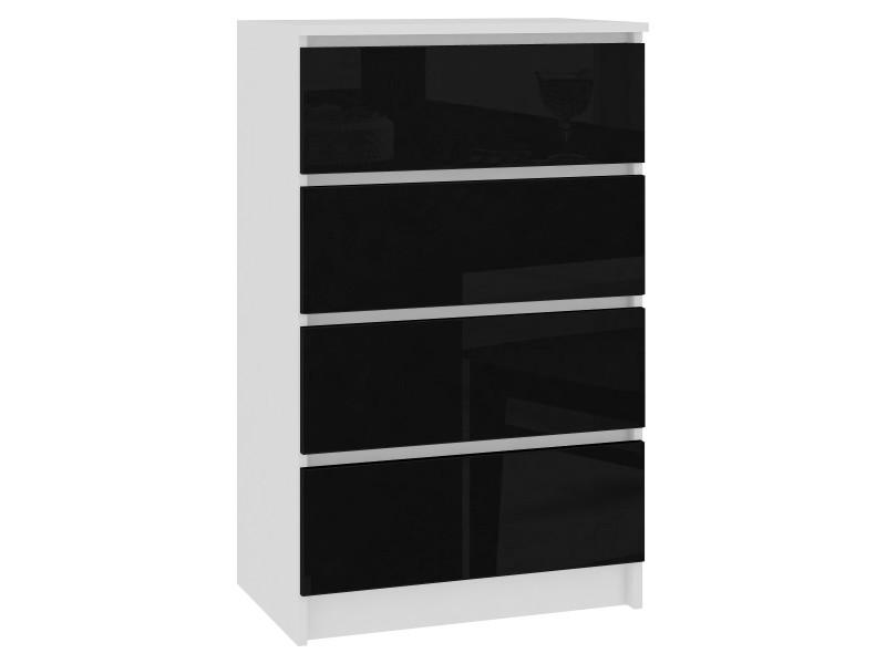 Skandi | commode moderne chambre bureau salon 4 tiroirs gloss 60x99x40cm | meuble de rangement multi-fonctionnel | blanc/noir laqué