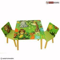 Ensemble table et 2 chaises enfant jungle