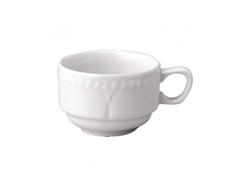 Tasse à café 180ml continentale empilable buckingham blanche - lot de 24 - 0 cm porcelaine 18 cl