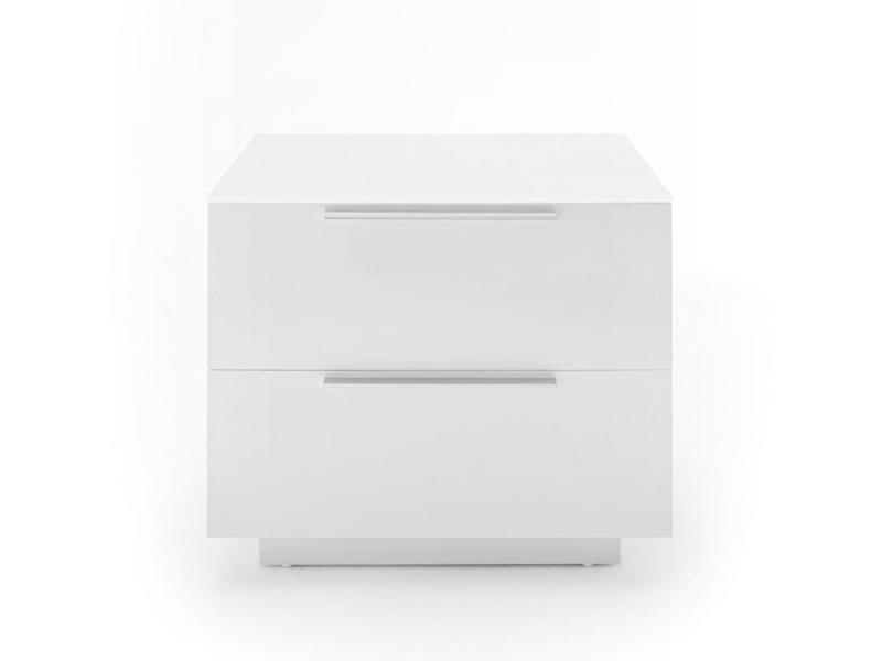 Chevet novo laqué blanc brillant plateau verre blanc 2 tiroirs 20100890360