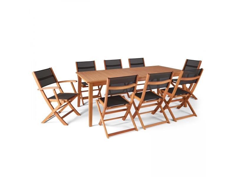 Table de jardin en bois extensible 2 fauteuils et 6 chaises, martigues 12 places bois noir