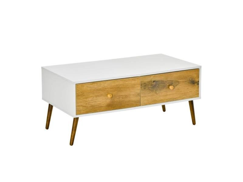 Table basse rectangulaire 4 tiroirs coulissants façades aspect chêne doré pieds effilés bois de hêtre panneaux particules blanc