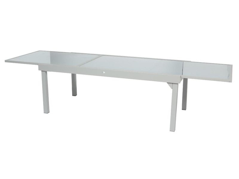 Table extensible rectangulaire en verre piazza 8/12 places gris mat ...