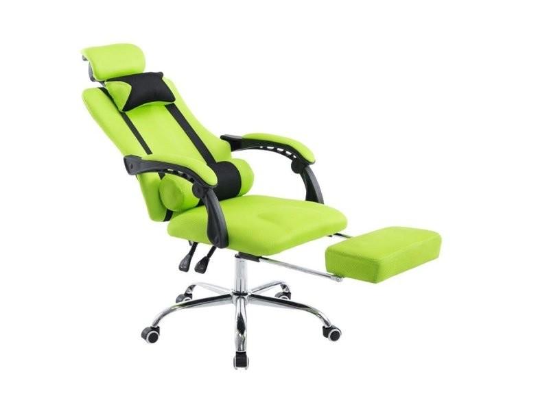 fauteuil de bureau ergonomique avec repose pieds extensible appui t te vert bur10089 vente de. Black Bedroom Furniture Sets. Home Design Ideas