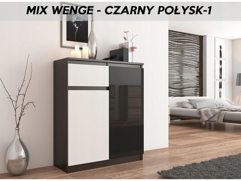 Moscow 3w | buffet moderne salle à manger 98x80x40 cm | commode contemporaine chambre salon bureau | meuble de rangement | wenge/blanc/noir laqué