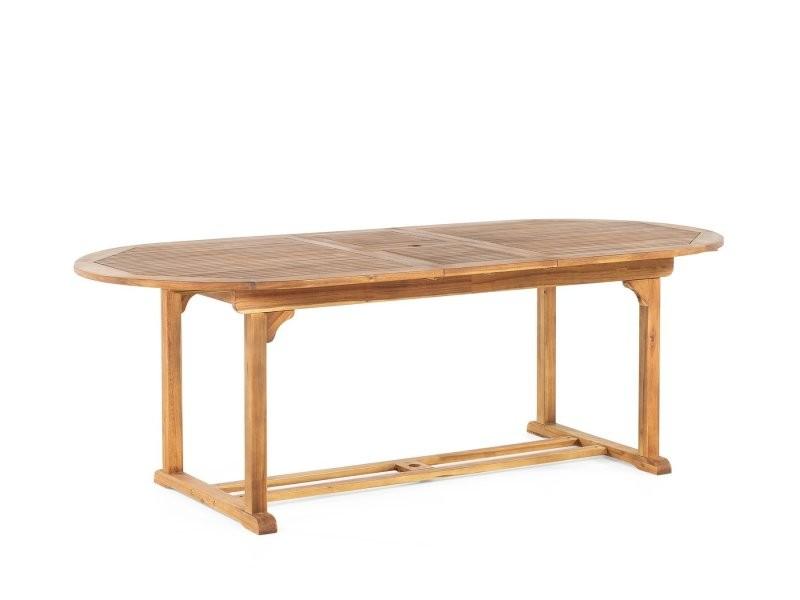 Table de jardin ovale en bois avec rallonges java 37222