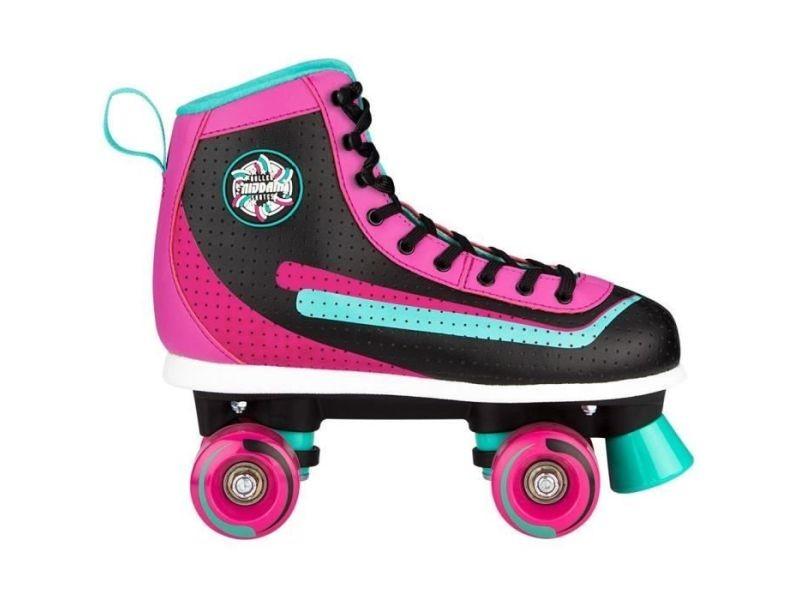 Roller in line rollers quad en cuir retro - femme - rose-bleu