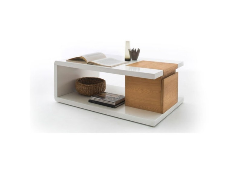Table basse tibar blanc laqué et caisson TENDENCIO