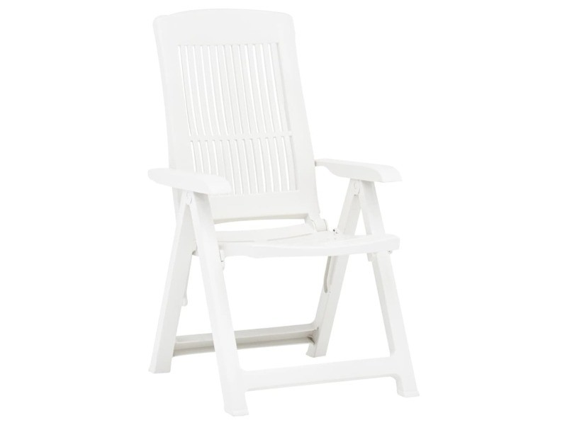 Vidaxl chaises inclinables de jardin 2 pcs plastique blanc 48766