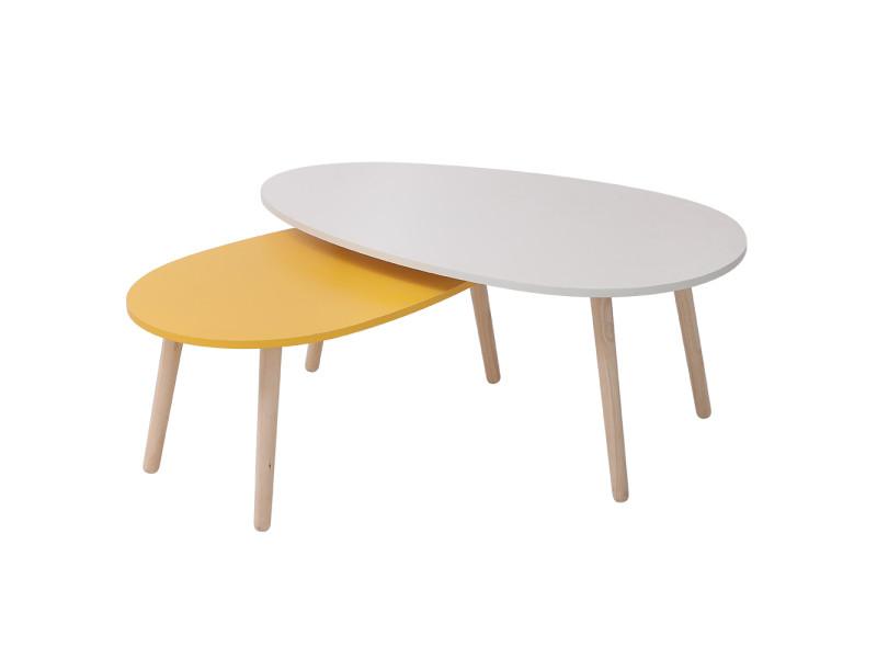 Lot de 2 tables basses gigognes hombuy blanc et jaune style scandinave
