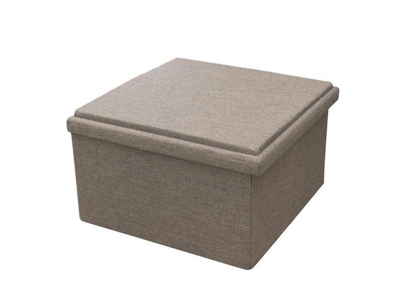 Pooja - grand pouf-coffre table pliable velours gris