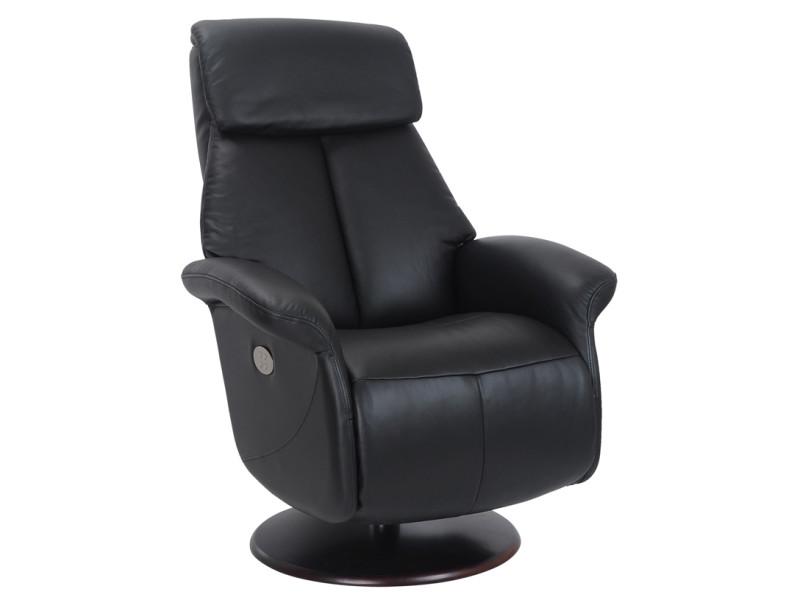 Fauteuil relax électrique 2 moteurs arras repose pieds intégré cuir noir