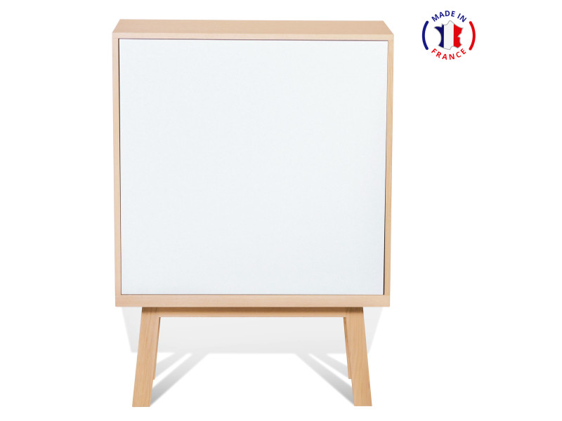 Armoire 1 porte en frêne 90x46 cm blanc balisson - 100% fabrication française