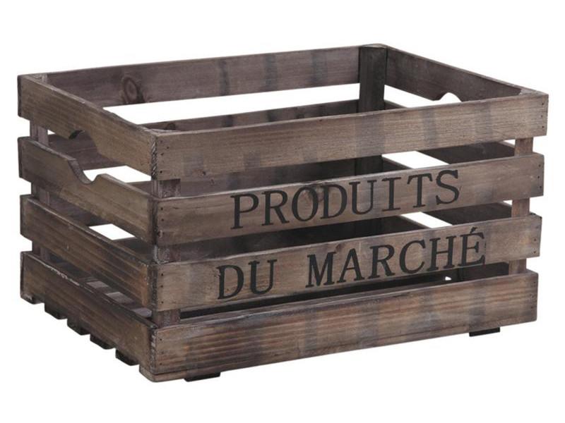 Caisse de rangement en bois vieilli, laqué brun, 40 x 30 x 22 cm -pegane- PEGANE