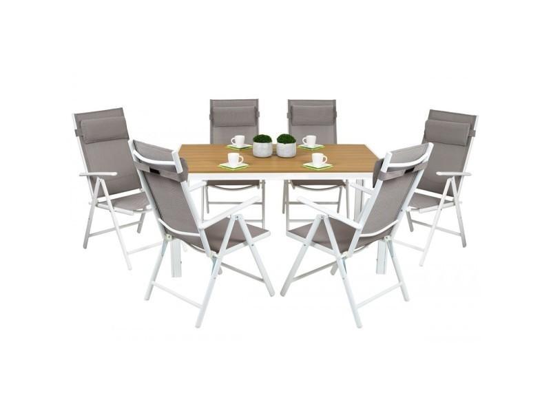 cordoba salon de jardin 6 chaises table alu top qualit gris conforama. Black Bedroom Furniture Sets. Home Design Ideas